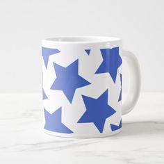 #trendy - #Fun Navy Blue Stars Pattern Jumbo Mug