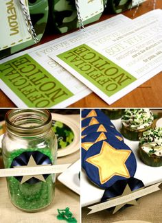 "Cute army party ideas!  ""you've been drafted"" invites!!"