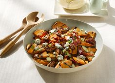 Grilled Sweet Potato Salad with Hot Bacon Dressing, Blue Cheese and Pecans