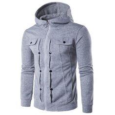 Zip Up Buttoned Pleat Hoodie