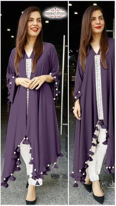 Nishnat Studio 2 Faux Georgette Western Style Kurti With Bottom Simple Pakistani Dresses, Indian Gowns Dresses, Indian Fashion Dresses, Pakistani Dress Design, Latest Dress Design, Fancy Dress Design, Stylish Dress Designs, Western Dresses For Women, Stylish Dresses For Girls
