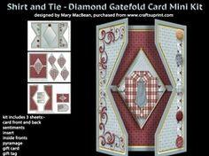Shirt and Tie   Diamond Gatefold Card MIni Kit on Craftsuprint - View Now!
