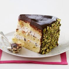 Chocolate Cannoli Cake - rum syrup soaked cake with chocolate chip cannoli filling? Sign me up!