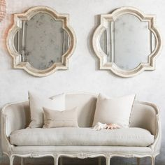 Beautiful over the couch. Eloquence Lyon Silver Two-Tone Mirror #laylagrayce #bunnywilliamshome
