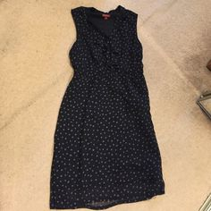 Ruffle front polka dot dress Elastic waist lined ruffle front sleeveless dress. Side zip. Throw a cardigan over to wear to work Merona Dresses