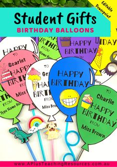 These Editable Birthday Balloon Templates are perfect for inexpensive gifts for . - These Editable Birthday Balloon Templates are perfect for inexpensive gifts for students. Add a par - First Day Of School Activities, Teaching Activities, Hands On Activities, Classroom Activities, Teaching Resources, School Resources, Student Birthday Gifts, Student Birthdays, Classroom Birthday
