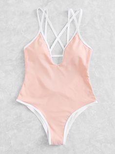 Criss Cross Plunge Swimsuit