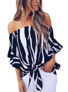 7b9777cf2c444f Asvivid Women s Striped Off Shoulder Bell Sleeve Shirt Tie Knot Casual Blouses  Tops at Amazon Women s Clothing store