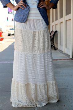Cute lace maxi skirt