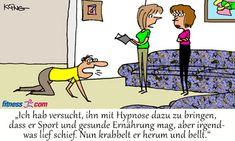 """Hypnose für Sport und gesunde Ernährung - Fitness.com - Sporthypnose. Hypnotiseurin: Ich hab versucht, ihn mit Hypnose dazu zu bringen, dass er Sport und gesunde Ernährung mag, aber irgendwas lief schief. Nun krabbelt er herum und bellt."""" #hypnose #sporthypnose #hypnotiseur #hypnotiseurin #sport #cartoon #lustig #humor #memes #spass Satire, Fitness, Family Guy, Comics, Memes, Fictional Characters, Funny Humour, Laughing, Cartoon Jokes"""