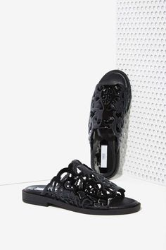 Miista Lucille Cutout Slide - Black