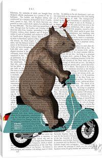 Rhino On Moped Canvas Art Print