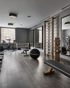 Luxury Fitness Home Gym Equipment and for Personal Studio. Dumbbells, Wal Bar, Exercise bench and kettlebells. #HomeGyms #FitnessTips