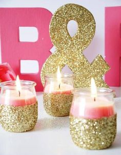I love these glittery candles! Maybe black and silver glitter?