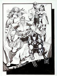 Jim Lee X-Men Pinup Page Illustration Original Art (Marvel,1990)....