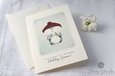 "card - christmas - holiday - blue bird - winter - red - blue - illustration - ""GLIMMER"""