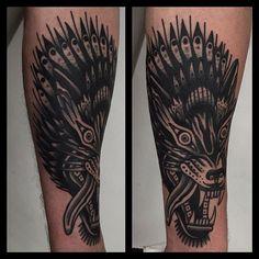 Cool black wolf head tattoo