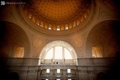 Wide angle ceremony on the forth floor balcony of San Francisco City Hall