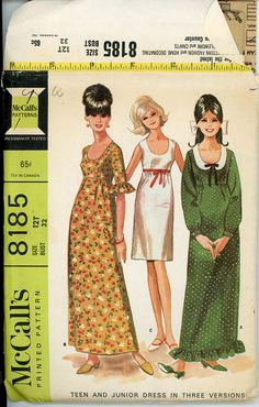 60s Empire Waist Maxi Dress Pattern McCalls 8185 32 by CynicalGirl
