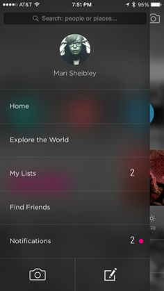 Gogobot iPhone custom navigation, drawer navigation screenshot