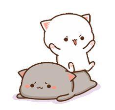 Cute Anime Cat, Cute Bunny Cartoon, Cute Kawaii Animals, Cute Couple Cartoon, Cute Love Pictures, Cute Cartoon Pictures, Cute Love Gif, Cute Cat Gif, Cute Bear Drawings