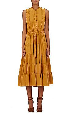 Ulla Johnson Minetta Silk Dress Shirred Dress, Ruffle Dress, Silk Dress,  Ruffles, e23a5dee11b