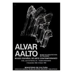 The Alvar Aalto exhibition's poster illustration shows the wooden relief designed for the main concert space in Finlandia Hall, Helsinki. The exhibition was at the Museo Español de Arte Contemporaneo, Madrid, at the turn of Alvar Aalto, Poster Series, Illustration, Art Posters, Helsinki, Madrid, Arch, Space, Concert