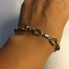 """Amber bracelet Sterling silver and amber stones bracelet. Antique style design around the stones. Available in 7"""". Jewelry Bracelets"""