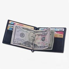 Unisex Spain Full Grain Cow Leather Money Clip Wallet with Card Holder and Coin Bag – CAD $ 26.85