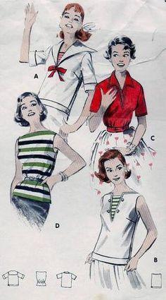 Vintage 50s Sailor Middy Blouse Pattern B32/12  $7.90