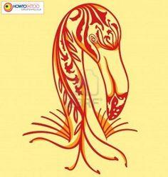 Small resolution image of flamingo illustrato con stile tattoo