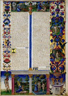 Bibbia di Borso d'Este, 1455-1461. Modena, Biblioteca Estense, vol. I (Lat. 422 = ms. V.G.12): Genesi, Storie della creazione