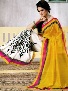 Bright Yellow and Cream Art Silk Saree with Blouse  We all wore this at my friend's holud.