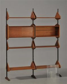 Book shelf    Anonymous. Denmark. 1950's.    Teak, lacquered steel and glass. If only I could finds this in the thrift store and it be mine.