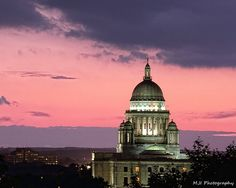 Statehouse at sunset