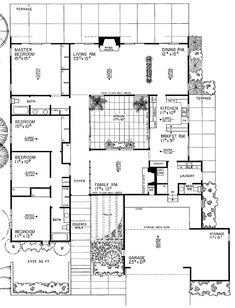 Maison Atrium, Casa Atrium, Atrium House, Big Living Rooms, Ottoman In Living Room, Master Suite, Atrium Design, Contemporary House Plans, Midcentury Modern House Plans