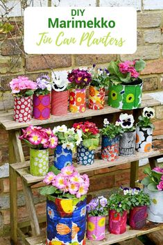 Create a riot of pattern and colour in your garden with some DIY Marimekko decorative tin can planters. This is a cheap and easy upcycle using paper napkin decoupage. diy garden cheap Easy Upcycled Marimekko Decorative Tin Can Planters Marimekko, Diy Craft Projects, Garden Projects, Diy Home Crafts, Craft Tutorials, Decor Crafts, Home Projects, Easy Crafts, Fleurs Diy