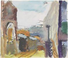 Frank Auerbach (British, b. 1931), To the Studios, 1982. Felt-tip pen and gouache, 21 x 24.5 cm.