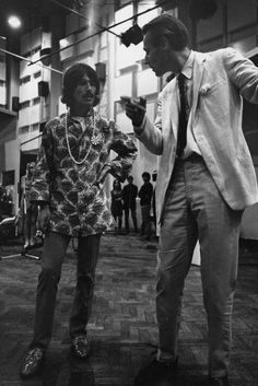 Photo by DAVID MAGNUS/REX/Shutterstock (20093o) GEORGE HARRISON AND GEORGE MARTIN The Beatles at Abbey Road Studios for the 'Our World' live television broadcast, London, Britain – 25 June 1967