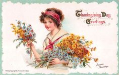 Brundage Art Thanksgiving Postcard Beautiful Young Woman with Flowers~108082…