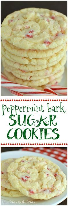 Scrumptious cookies that bring together everything you love about sugar cookies AND everything you love about peppermint bark in melt in your mouth bite!   Little Dairy on the Prairie