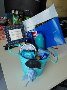 """We will be so blue without you"" office leave colleague gift blue basket"