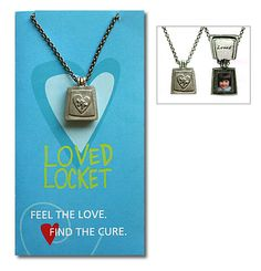 """Autism """"Loved"""" Locket, $30.00 -- Autism Shop:  This custom-designed pewter jewelry (featuring a puzzle piece surrounded by a heart) was created by artist Emily Rosenfeld. The locket opens to reveal its tender message (Loved) along with the photo of someone you cherish that you are able to slip into place through a special slot.  It comes on an antiqued nickel-plated steel chain & includes a photo template inside the beautiful presentation card. Locket measures .75"""" L x .6"""" W."""