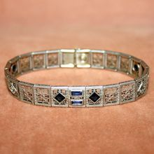 c.1920's Art Deco Sterling Bracelet With Sapphire Blue Faceted Glass Stones