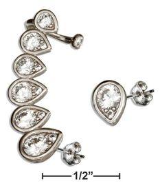 Sterling Silver Single Cubic Zirconia Teardrop Earring With Cuff And Teardrop Cubic Zirconias Stud