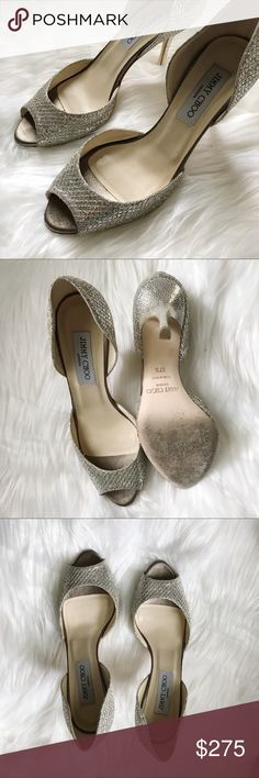 JIMMY CHOO Logan Peep Toe D'orsay Pump 37.5 Used condition. Champagne ivory color. Could be used as wedding shoes or bridesmaid! I wore them once for my sisters wedding! Jimmy Choo Shoes Heels