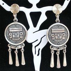 Sterling Silver Handmade Pierced Warrior Dangle Taxco Earrings Vintage Mexico | eBay