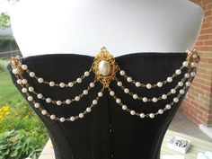 SOLD - #7 - Bright Gold Clips Bodice Jewelry by Renaissance Spirit Jewelry