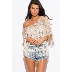 "Crochet Fringe Cover Up Top #580 Sun's out, fun's out! Throw on this super easy boho cover up top. With some denim cut offs and you're ready to go! 100% Cotton. Model is 5'9"", chest 32C, waist 25"", hips 35"", wearing a size S/M. Price is firm. Ellie Kate Tops"