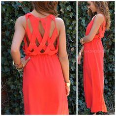 Jasmine Bay Red Lattice Back Maxi Dress
